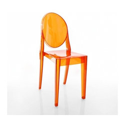 Kartell - Victoria Ghost Chair, Set of 2, Transparent Orange - Lighten up your look with this modern interpretation of a classic Louis XV chair. The medallion-shaped backrest and linear seat are cast in clear polycarbonate, giving it a transparent, almost ghost-like appearance. It's a sleek, sophisticated seating option that sits well in practically any setting — indoors or out.
