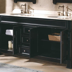 James Martin Furniture - 72 in. Double Vanity with Cream Top in Black - Faucet not included. Original james martin design. All hand made and finished. 100% solid timber construction. Kiln dried wood. Framed type construction. One piece slab natural stone and backsplash. Fully finished inside anti mildew coaring. Multi layer 12 step hand finish to prevent pealing, cracking, fading. Hand applied anti mildew varnish. Full extension drawers operate on 20,000 rpm ball bearing guide system. Full size sink. Made from solid oak grade A hardwood. 71.7 in. W x 23 in. D x 34.7 in. H