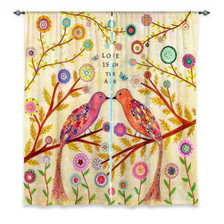 "DiaNoche Designs - Window Curtains Lined - Sascalia Love Birds - Purchasing window curtains just got easier and better! Create a designer look to any of your living spaces with our decorative and unique ""Lined Window Curtains."" Perfect for the living room, dining room or bedroom, these artistic curtains are an easy and inexpensive way to add color and style when decorating your home.  This is a woven poly material that filters outside light and creates a privacy barrier.  Each package includes two easy-to-hang, 3 inch diameter pole-pocket curtain panels.  The width listed is the total measurement of the two panels.  Curtain rod sold separately. Easy care, machine wash cold, tumbles dry low, iron low if needed.  Made in USA and Imported."