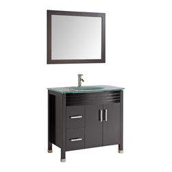 """Legion Furniture - 36 Inch Modern Single Sink Bathroom Vanity - This 36 inch Modern Single sink bathroom vanity is a perfect center piece for your bathroom project.  This Espresso (Dark Brown, Can Appear Black in Certain Lighting) bathroom vanity features 2 Doors, 2 Drawers; Soft Close Hinges and Guides , and a Tempered Glass with Integrated Sink counter top with a Integrated Tempered Glass sink that is Pre-Drilled for Single Hole Faucet (Included). Large opening in back for easy plumbing installation.  Dimensions: 36""""W X 18""""D X 34""""H (Tolerance: +/- 1/2""""); Counter Top: Tempered Glass with Integrated Sink; Finish: Espresso (Dark Brown, Can Appear Black in Certain Lighting); Features: 2 Doors, 2 Drawers; Soft Close Hinges; Hardware: Brushed Nickel; Sink(s): Integrated Tempered Glass; Faucet: Pre-Drilled for Single Hole Faucet (Included); Assembly: Light Assembly Required; Large Cut Out in Back for Plumbing; Included: Cabinet, Sink, Brushed Nickel Faucet, Mirror (35"""" W X 1""""D X 27.5""""H); Not Included: Backsplash"""