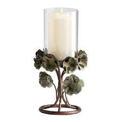 Cyan Design - Cyan Design 05323 Small Leigh Green Rose Candleholder - Features: