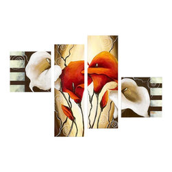 """Fabuart - """"Bouquet"""" - Modern Floral Art Painting - 56 x 32in - This beautiful Art is 100% hand-painted on canvas by one of our professional artists. Our experienced artists start with a blank canvas and paint each and every brushstroke by hand."""