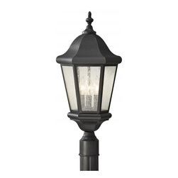 Feiss - Feiss Martinsville 3-Light Black Clear Seeded Glass Post Light - OL5907BK - This 3-Light Post Light is part of the Martinsville Collection and has a Black Finish and Clear Seeded Glass. It is Wet Rated, and Outdoor Capable.