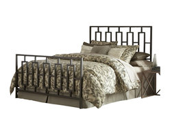 Fashion Bed - Fashion Bed Miami Metal Panel Headboard in Coffee-Full - Fashion Bed - Headboards - B65444 - The Miami Headboard features an ultra modern style with clean lines and angular design. The grill comprises elongated vertical rectangles and has square tubing construction. Its warm coffee finish is virtually maintenance free and blends with almost any color scheme you may choose.