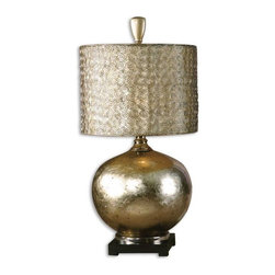 Uttermost - Uttermost Julian 31.75 Inch Table Lamp - This glass lamp is finished from the inside with an antiqued silver/champagne leaf and cast aluminum accents. The round drum shade is constructed from small spirals.