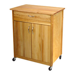Catskill Craftsman - Catskill Craftsman Mid-Size Two Door Cart - Add rustic style and much-needed functionality to your kitchen with this Catskill Craftsman cart featuring a butcher block top,towel bar and locking caster wheels. This cart boasts an oiled finish over sustainably-harvested yellow birch hardwood.