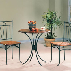 Coaster - Tamiami 3-Pc Bistro Dining Set - Includes table and two side chairs. Casual style. Smooth clean edges. Table with gentle curves and metal pedestal base. Round wooden table top. Side chair with wooden seat. Unique metal seat back. Made from wood and metal. Table: 30 in. Dia.. Chair: 17.75 in. W x 15.33 in. D x 37 in. H. WarrantyAdorn your breakfast nook or casual dining area with the simple yet romantic designs of this three piece bistro dining set. Create the perfect environment to enjoy your morning cup of coffee, Sunday newspaper, or casual meal with this 3-Pc bistro group.