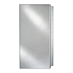 Afina - Afina Broadway Surface Mount Single Door Medicine Cabinet - 24W x 4D x 30H in. M - Shop for Bathroom Cabinets from Hayneedle.com! The Afina Broadway Surface Mount Single Door Medicine Cabinet - 24W x 4D x 30H in. is simply brilliant. This piece is made from satin anodized aluminum making it attractive strong and rust-resistant all in one swoop. This cabinet's mirrored door turns upon concealed European hinges completely eliminating the issue of unsightly hardware sticking out every which way. Available to you are three door designs: beveled or polished edges or an aluminum trim with a plain mirror. The true treasure lies inside however: a mirrored inside door and mirrored back offer a spacious feeling and the three glass shelves are adjustable to suit your specific storage needs. Way neat. This piece may be recess or surface mounted. This cabinet measures 24W x 4D x 30H inches. The approximate wall opening dimensions are 23.375W x 4D x 29.375H inches.About AfinaAfina Corporation is a manufacturer and importer of fine bath cabinetry lighting fixtures and decorative wall mirrors. Afina products are available in an extensive palette of colors and decorative styles to reflect the trends of a new millennium. Based in Paterson N.J. Afina is committed to providing fine products that will be an integral part of your unique bath environment.