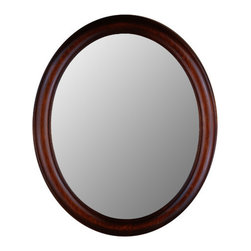 """Hitchcock Butterfield Company - Premier Series Oval Mirror in Mahogany - Conceived from the form of a sail in the wind and Japanese ceramic tableware design, the Escale suite takes you on a journey of style to create a clean new look for your bathroom. A timeless classic, Escale combines flexibility with highly distinctive design. Features: -Escale mirror. -Engineered Wenge finish. -Wenge veneers. -Pre-installed hangers for vertical or horizontal wall-mount installation. -Catalyzed polyurethane provides a durable moisture-resistant finish. -Complements the Escale Suite. -Overall Dimensions- 26""""L x 38""""H ."""