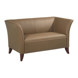 Office Star - Taupe Leather Love Seat with Cherry Finish Le - Refurnish your office economically with this taupe leather upholstered love seat.  There's a club chair and matching sofa available, too.  The curved arms give this love seat its contemporary look.  Four sloped legs have a cherry finish. * Taupe Leather. Cherry Finish legs. 55.5 in. W x 30.5 in. D x 30.7 in. H
