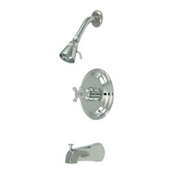 "Kingston Brass - Polished Chrome Metropolitan Single Handle Tub & Shower Faucet KB2631BX - Solid brass water way construction, Premium color finish resists tarnishing and corrosion, 2.5 GPM / 9.5 LPM at 60 PSI, 6"" reach Shower Arm, 1/4 turn washerless cartridge, 1/2"" IPS Inlets, Pressure Balance Valve, Ten year limited warranty.. Manufacturer: Kingston Brass. Model: KB2631BX. UPC: 663370029974. Product Name: Single Handle Tub & Shower Faucet. Collection / Series: Metropolitan. Finish: Polished Chrome. Theme: Contemporary / Modern. Material: Brass. Type: Faucet. Features: Beautiful premier finish"