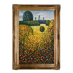 "overstockArt.com - Klimt - Field of Poppies - Hand Painted Canvas Size 24"" X 36"" Hand painted oil reproduction of a famous Klimt painting, Poppy Field, 1907. Today it has been carefully recreated detail-by-detail, color-by-color to near perfection. Gustav Klimt (1862-1918) was one of the most innovative and controversial artists of the early twentieth century. Influenced by European avant-garde movements represented in the annual Secession exhibitions, Klimt's mature style combines richly decorative surface patterning with complex symbolism and allegory, often with overtly erotic content. This work of art has the same emotions and beauty as the original. Why not grace your home with this reproduced masterpiece? It is sure to bring many admirers!"