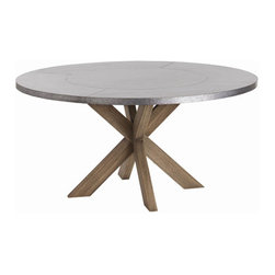 """Arteriors - Arteriors Home - Halton Dining Table - 2415 - This 60"""" dining table is made of solid wood which has been waxed to maintain the natural color. The top has been clad in galvanized steel and attached with small nail heads in a circular pattern. Perfect dining table or as a striking entry piece. Features: Halton Collection Dining TableGalvanized IronNatural Wax Some Assembly Required. Dimensions: H 29 1/2"""" x 60"""" Dia"""