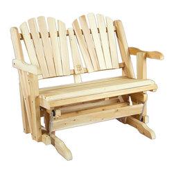 """Rustic Natural Cedar - Rustic Natural Cedar 800850 Wooden Glider Loveseat - - Height: 30"""""""