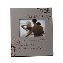 Havoc Gifts - Silver 'Family' Engraved Frame - Beautifully made, this frame is just the thing to decorate bare nightstands and hallways in need of sprucing. With a photo of loved ones within, it'll enliven décor as it adds a warm, personal touch.   9.5'' W x 10.25'' H x 0.5'' D Holds one 4'' x 6'' photo Wood / glass / paper Easel back / sawtooth hanger Imported
