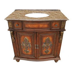 """L&K Designs - 36 Inch Traditional Single Sink Bathroom Vanity - The Fleur De Lis 36"""" Vanity features a rich burlwood finish complemented with two fleur de lis' in full relief.  The fleur de lis' are embellished with cut glass amber crystals.  This vanity has two funtional doors and two functional drawers.  The drawers utilize a full extension ball bearing drawer guide. Dimensions: 36""""W X 22""""D X 36""""H (Tolerance: +/- 1/2""""); Counter Top: Brown Emperador Marble; Finish: Burl Wood; Features: 2 Doors, 2 Drawers, 1 Interior Shelf; Hardware: Antique Burnished Brass; Sink(s): 12.5"""" X 15.5"""" Oval Undermount Bisque Ceramic; Faucet: Pre-Drilled for Standard Three Hole 8"""" Center (Not Included); Assembly: Fully Assembled; Large Cut Out in Back for Plumbing; Included: Cabinet, Sink; Not Included: Faucet, Backsplash"""