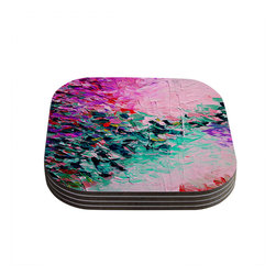 "Kess InHouse - Ebi Emporium ""Romantic Getaway"" Pink Teal Coasters (Set of 4) - Now you can drink in style with this KESS InHouse coaster set. This set of 4 coasters are made from a durable compressed wood material to endure daily use with a printed gloss seal that protects the artwork so you don't have to worry about your drink sweating and ruining the art. Give your guests something to ooo and ahhh over every time they pick up their drink. Perfect for gifts, weddings, showers, birthdays and just around the house, these KESS InHouse coasters will be the talk of any and all cocktail parties you throw."