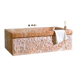 The Allstone Group - TRTA-72-BE Rojo Alicante Polished Bath Tub - Natural stone strikes a balance between beauty and function. Each design is hand-hewn from 100% natural stone.  Relaxation to many is soaking in a bath.  What could be better than be surrounded by the beauty and feel of natural stone?