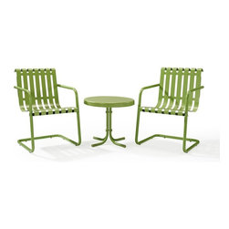 Crosley - Gracie 3 Piece Metal Outdoor Conversation Seating Set - Dimensions:  Table:    20L x 20W x 19.5H in.