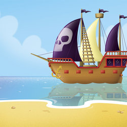 Murals Your Way - Pirate Ship Wall Art - Painted by Paul Dronsfield, the Pirate Ship wall mural from Murals Your Way will add a distinctive touch to any room