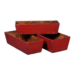 Antique Revival - Red 3-Piece Carroll Planter Set - Three nesting planters (small, medium, and large) are a great way to display a counterop herb garden in your kitchen or on a patio. The planters are sturdy and solid with light distressing around the edges and a bright red paint color. The planters conveniently fit inside each other for easy storage. Item is newly made.