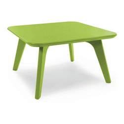 Loll Designs - Satellite End Square 26 Table, Leaf Green - In the context of outdoor lounging, a Loll Satellite accent table is a recycled polyethylene object placed into orbit around humans resting in Loll Furniture. Unlike the moon, the Loll Satellite Table actually rotates in conjunction with the Earth and her inhabitants, at just over 1,000 miles per hour, but appears to be sitting still. We think it's time for you to have your very own Satellite... perfect for star gazing on black nights with warm breezes and cold drinks. All Loll Satellite Tables are made with heavy duty 1 inch thick poly and available in an assortment of colors, shapes and sizes.