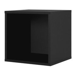 Foremost - Modular Open Cube Black - Store your books and display your pictures in this black open cube. Made of wood composite and finished in veneer, this cube adds a classic yet contemporary touch to your decor. Buy more than one to pile them on top of each other for shelving. Unlimited combination options so you can create exactly the system you need.