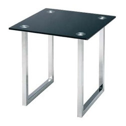 Lite Source - Dane End Table in Chrome w Tempered Black Glass Top - Tempered black glass top end table. 21 in. W x 21 in. D x 20 in. H (26.5 lbs.). Product Installation Instructions