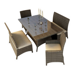 Forever Patio - Hampton 5 Piece Wicker Patio Dining Set, Heather Wicker and Beige Cushions - The Forever Patio Hampton 5 Piece Rattan Patio Dining Set with Cream Sunbrella cushions (SKU FP-HAM-5DN-HT-AC) creates the perfect contemporary look for dining on your patio or deck. The set seats 6 adults comfortably, and includes 2 dining benches, 2 dining armchairs and a dining table with a glass top. This set features Heather resin wicker, which is made from High-Density Polyethylene (HDPE) for outdoor use. Each strand of this outdoor wicker is infused with its natural color and UV-inhibitors that prevent cracking, chipping and fading ordinarily caused by sunlight, surpassing the quality of natural rattan. This patio dining set is supported by thick-gauged, powder-coated aluminum frames that make it extremely durable. Also included are fade- and mildew-resistant Sunbrella cushions. Backed by its quality construction and highly modern design, this modern outdoor dining set will keep your patio looking great for years.