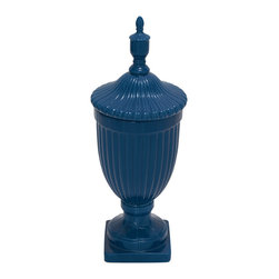 Brilliant Styled Fancy Ceramic Blue Urn - Description: