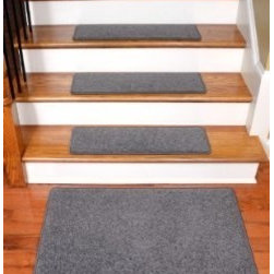"Dean Flooring Company - Dean Carpet Stair Treads 27"" x 9"" Gray Plush (Set of 13) Plus a 2' x 3' Mat - Dean Carpet Stair Treads 27"" x 9"" Gray Plush (Set of 13) Plus a 2' x 3' Mat : Quality, Stylish Carpet Stair Treads by Dean Flooring Company. Extend the life of your high traffic hardwood stairs. Reduce slips/increase traction (treads must be properly secured to your stairs). Cut down on track-in dirt. Great for pets and pet owners (helps your dog easily navigate your slippery stairs. 100% Premium quality nylon. 35 ounce stain and spill resistant PLUSH carpeting. Dean signature rounded corners. Add a fresh new look to your staircase. Set includes 13 carpet stair treads PLUS one roll of double-sided carpet tape for easy, do-it-yourself installation and a matching 2' x 3' landing mat. Each tread is finished on the edges with color matching yarn. No bulky fastening strips. You may remove your treads for cleaning and re-attach them when you are done. Add a touch of warmth and style to your stairs today with new stair treads from Dean Flooring Company!"