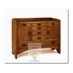 Mission Buffets and Sideboards - This beautiful buffet is an identical Historic Reproduction of Gustav Stickley's Buffet Server Designed by Harvey Ellis is 1906.  It is 100% Handcrafted in the United States by our Master-Craftsmen and Guaranteed for Life!