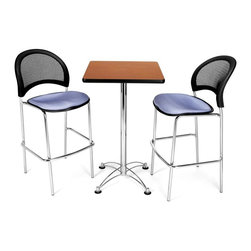 OFM - Square Top Cafe Table & 2 Lavender Seat Chairs w Mesh Backs - 3-Pc Set - Sleek, modern design elements and a contemporary color palette enhance this three-piece cafe table set, perfect for office lunch rooms, food courts or coffee shops. Featuring a square table with a laminate top and a steel base, the set also features two stacking counter height stools with tubular steel bases, mesh backs and padded lavender seats. Cherry table. Lavender chair. Stacks 2 high. Triple Curve seat design. Replaceable stain-resistant seat cushions. 250 lbs. weight capacity. Meets of exceeds ANSI/BIFMA standards. Elegant chrome plated steel base. 1.25 in. thick hi pressure laminate top with honeycomb core makes the table both lightweight and sturdy. 41 in. table height. Excellent for lunch and meeting rooms. The banding makes the edges smooth and gives it a finished appearance. Chair: 22 in. W x 23 in. L x 46 in. H. Table: 24 in. W x 24 in. L x 41.5 in. H