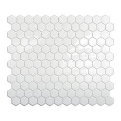 Peel-and-Stick Hexagon Mosaic Backsplash, White - How fun would these hexagonal tiles be as a backsplash?