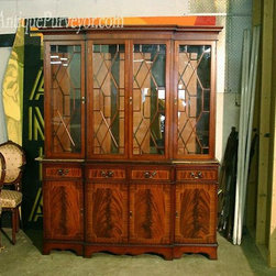 Four Door Antique Reproduction China Cabinet (LH 4 Door) - This four door breakfront has flame mahogany wood and bracket feet.