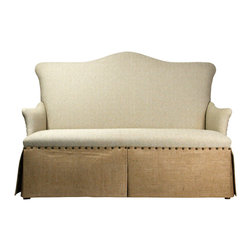 Zentique - 3 Seater Skirted Sofa - The classic design of this three-seater sofa makes it perfect for use throughout the house. You could place it in the living room or set it up in an office or master bedroom. And the brass nailhead detail stylishly marries the light linen and heavier burlap upholstery.