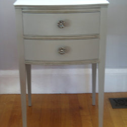 Custom Rustic Furniture - Beautiful Antique End Table in Country French Grey skillfully refinished and antiqued to show it's exquisite charm