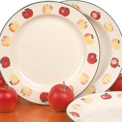 Renovators Supply - Stoneware Ceramic Plate Country Apple 10'' Dia USA - Stoneware Plate. This antique stoneware plate is hand decorated. Dishwasher safe it measures 10 in. diameter. Made in the USA. Sold individually.
