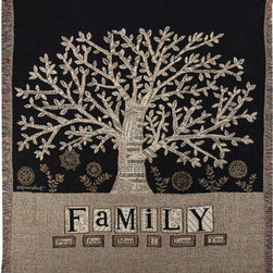 Manual - Family First Tapestry Throw Blanket 50 Inch x 60 Inch - This multicolored woven tapestry throw blanket is a wonderful addition to any home. Made of cotton, the blanket measures 50 inches wide, 60 inches long, and has approximately 1 1/2 inches of fringe around the border. The blanket features a print of a multi-branched tree, with 'Family: First and Most. I Love You.' printed at the bottom. Care instructions are to machine wash in cold water on a delicate cycle, tumble dry on low heat, wash with dark colors separately, and do not bleach. This comfy blanket makes a great gift for any family member.