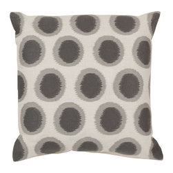 Surya Rugs - Flint Gray and Papyrus Polyester Filled 22 x 22  Pillow - - Add fun to any room with this polka-dot design and colors of papyrus and flint gray. This pillow has a polyester fill and zipper closure. Made in India with one hundred percent linen this pillow is durable and priced right  - Cleaning/Care: Blot. Dry Clean  - Filled Material: Polyester Filler Surya Rugs - AR090-2222P