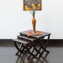 None - Melody Acacia Wood Nesting Tables (Set of 3) - Whether you use them all together or separately around the house,the Melody nesting tables are multi-functional while still being stylish and convenient.