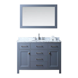 """NEW Bathroom Vanities / Vanity by Ari Kitchen and Bath - Beautiful transitional style bathroom vanity by Ari Kitchen and Bath, a new brand manufacturing quality bathroom decor at affordable prices. The new 48"""" Bella comes with 1"""" edge Italian carrara marble top, backsplash, rectangle undermount CUPC basin, soft-closing drawers and doors, concealed drawer hinges, grey framed mirror and grey solid wood bathroom cabinet. Absolutely no MDF or Particle board on all of our bathroom vanities. All of our bathroom vanities come completely assembled by the manufacture, minimal assembly required. Cabinet Dimensions: 48"""" height x 22"""" width x 34.5"""" height Mirror Dimensions: 48"""" width x 31.5"""" length"""