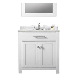 """Water Creation - Water Creation Madison 30W 30"""" Solid White Sink Bathroom Vanity - Water Creation Madison 30W 30-Solid White Single Sink Bathroom Vanity From The Madison Collection"""