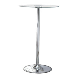 """Adarn Inc - LED 42""""H Transitioning Bar Table with Chrome Base Tempered Glass Table Top - Light up your home with this 42"""" LED Bar Table. A truly innovative piece, this contemporary bar table features a tempered glass table top that transitions through six LED colors: blue, aqua, green, lime, purple, and red. Whether you want to have a cool night party with your friends or use as a classy bar table by day, the LED Bar Table makes it easy to entertain and impress. Requires three """"C"""" batteries (not included)."""