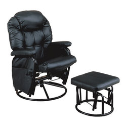 Monarch Specialties - Monarch Specialties I 7291 Black / Metal Swivel Rocker Recliner w/ Ottoman - Seat yourself in unsurpassed comfort and style with this black colored recliner chair and matching ottoman. Generously padded cushions, padded pillow top armrests, and side pockets useful for magazines, combine for a comfortable and multi-purpose chair. Accent stitching accentuates the luxurious leather-look for a tailored finish. This piece also features a metal swivel base with an adjustable tension knob, which allows you to control the back pitch for relaxing at just the right angle. Rocker Recliner (1), Ottoman (1)