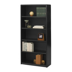 Safco - Value Mate Steel Bookcase w 5 Shelves in Black - Ideal for storage and display, this durable bookcase will be a sleek, sophisticated choice for a wide array of commercial applications. Sized for storing documents, records and research materials, the bookcase is made of steel in black powder coat finish and features five shelves, one fixed and four adjustable, for books, decorative items and more. Accommodate 3-ring binders and large publications. Generous 12 in. deep shelves. 24 ga. material thickness. Adjustable shelf with 1 in. increment. Shelf capacity 70 lbs.. Back is made of solid fiberboard. Made from steel. Powder coat finish. 31.75 in. W x 13.5 in. D x 67 in. H (44 lbs.). Assembly InstructionEconomical, sturdy and strong with the ValueMate Bookcases you can't go wrong! Exquisitely showcase photographs, keepsakes, literature and resources - and these shelves are perfect for larger publications and 3-ring binders! Make it functional or fun for your executive office, conference room, meeting areas, reception areas, waiting room, library, media center, sales offices and even your home office. These beautifully designed bookcases add the little extra that your workspace needs.