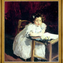 """Joaquin Sorolla Y Bastida-16""""x20"""" Framed Canvas - 16"""" x 20"""" Joaquin Sorolla Y Bastida Elena at Her Desk framed premium canvas print reproduced to meet museum quality standards. Our museum quality canvas prints are produced using high-precision print technology for a more accurate reproduction printed on high quality canvas with fade-resistant, archival inks. Our progressive business model allows us to offer works of art to you at the best wholesale pricing, significantly less than art gallery prices, affordable to all. This artwork is hand stretched onto wooden stretcher bars, then mounted into our 3"""" wide gold finish frame with black panel by one of our expert framers. Our framed canvas print comes with hardware, ready to hang on your wall.  We present a comprehensive collection of exceptional canvas art reproductions by Joaquin Sorolla Y Bastida."""