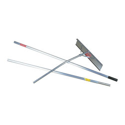 "Snow Joe - 16 Feet Roof Rake - Snow Joe Roof Joe 24"" Aluminum Snow Roof Rake Head with 16 foot Reach Pole.  3 piece snap pin handle made from industrial strength aircraft aluminum. ultra lightweight.  Clearing width: 24-IN x 4.63-IN tall aluminum blade with long wearing teardrop edge. and non-wearing teardrop edge. and non-slip shingle grip protection.  Maximum Length: 16-FT.  Twisted aluminum braces riveted to head for added strength.  Spring steel snap pins for easy assembly and storage.  Prevents damage due to heavy snow loads build-up.  Spring steel snap pins for easy assembly and storage."