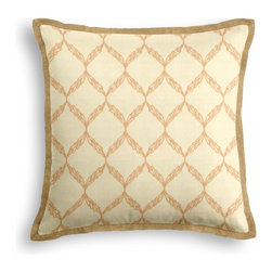 Beige Embroidered Trellis Tailored Pillow - The Tailored Throw Pillow is an updated, contemporary pillow style with the center fabric framed by a thin contrast flange.  Voila! -it's artwork for your couch!  We love it in this beige trellis crewel embroidered on cream cotton for a look that's classic with a touch of casual.