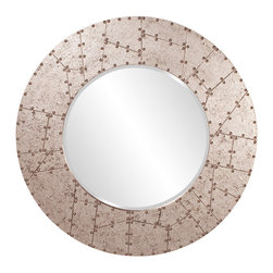 Howard Elliott - Aviator Round Industrial Mirror - This Aviator Mirror features a faux metal finish with rivet detail along frame. Faux Metal Finish with Rivet Detail Along Frame. Mirror Size: 24 in. Diam. 40 in. Diam x 1 in.